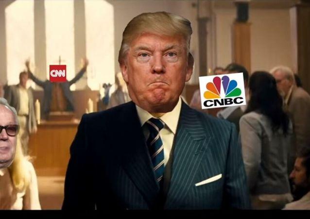 """白宫记者谴责""""特朗普""""向媒体代表开枪视频"""