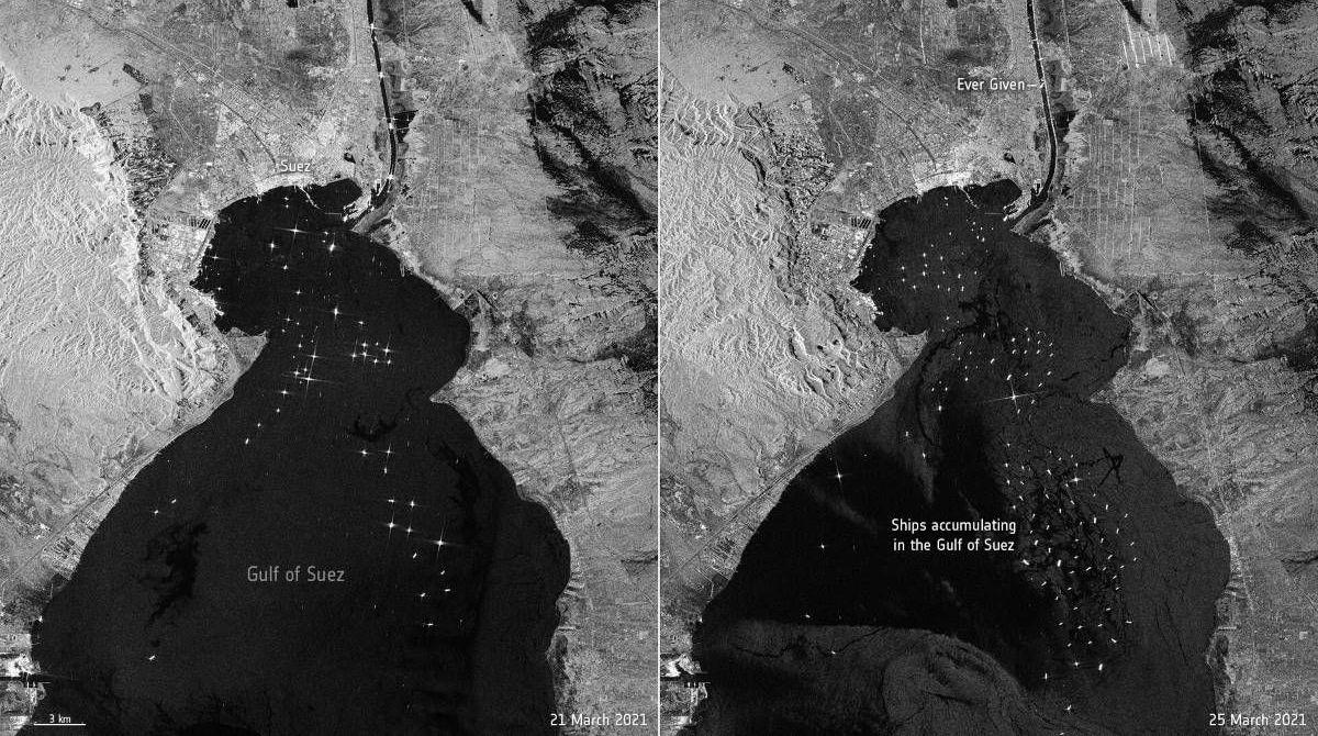 """太空中拍摄到的苏伊士运河""""交通堵塞"""""""