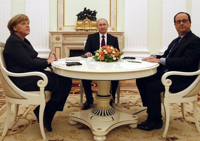 俄羅斯總統普京、德國總理默克爾和法國總統奧朗德