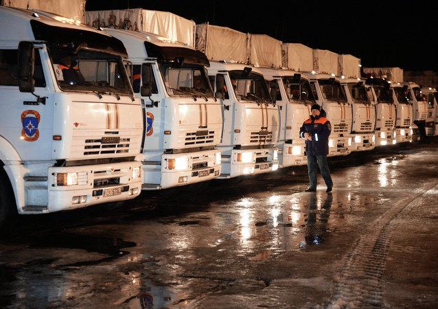 俄緊急情況部組建第39支為頓巴斯運送人道主義救援物資車隊