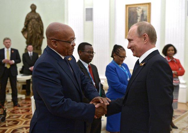 俄羅斯總統普京與南非總統祖瑪  資料圖片