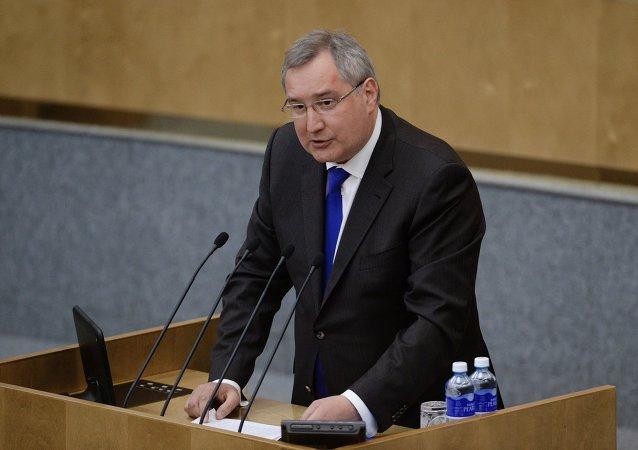 俄副总理罗戈津在俄国家杜马作报告时