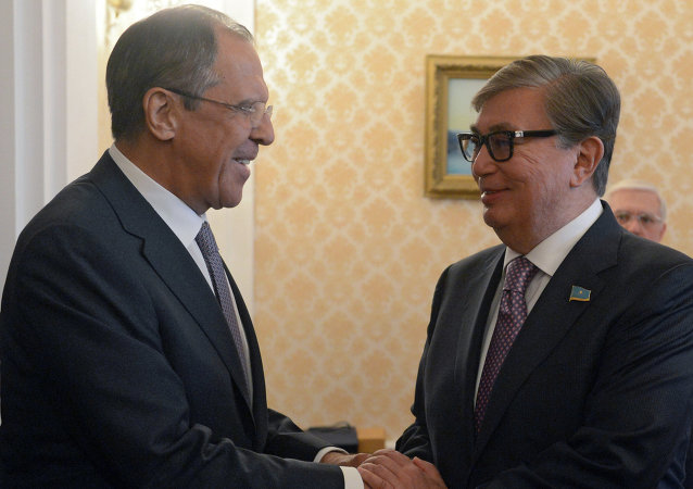 俄羅斯外長拉夫羅夫和哈薩克斯坦參議院議長托卡耶夫