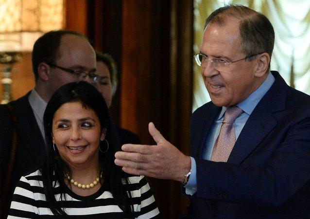 俄罗斯外长拉夫罗夫与委内瑞拉外长罗德里格斯