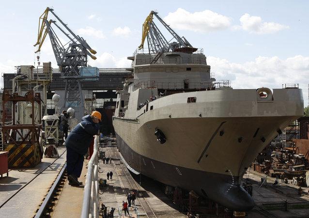 加里寧格勒「瑪瑙」造船廠俄海軍登陸艦開始龍骨鋪設