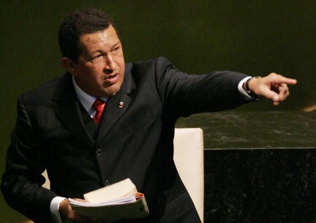 委内瑞拉总统乌戈·查韦斯在第61届联合国大会上发言