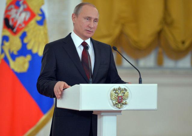 俄罗斯总统普京在克宫招待会上