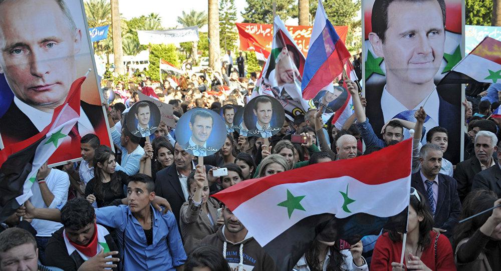 支持俄空天部队行动大型集会活动在叙利亚塔尔图斯进行