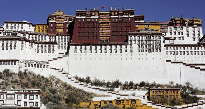西藏警察在拉萨的布达拉宫前
