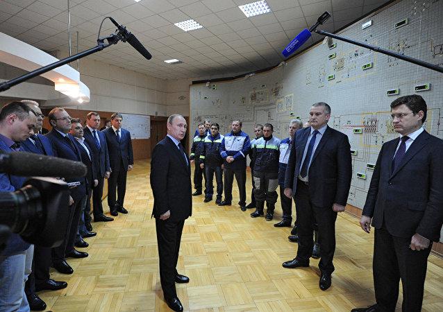 普京出席庫班向克里米亞供電橋一期工程啓動儀式