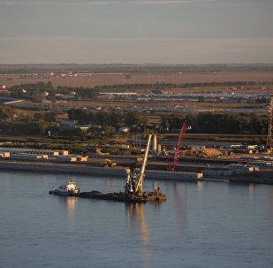 阿穆尔河水位上涨导致布市与黑河两岸交通临时中断