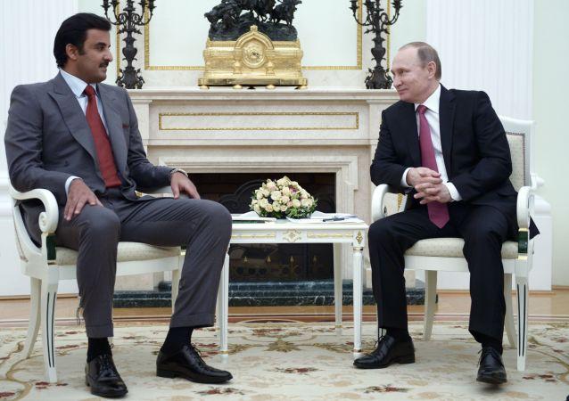 卡塔爾埃米爾塔米姆·本·哈馬德·阿勒薩尼和普京(資料圖片)
