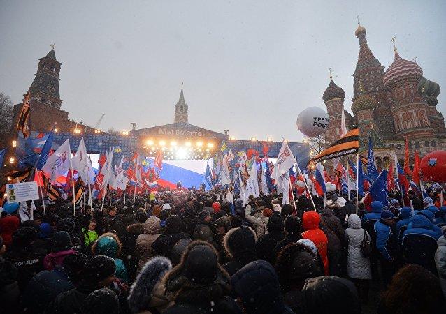 俄內務部:全國約40萬人參加了克里米亞回歸兩週年慶祝活動