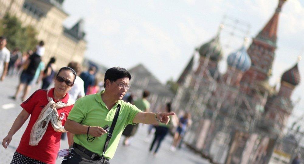 中國旅遊者在莫斯科