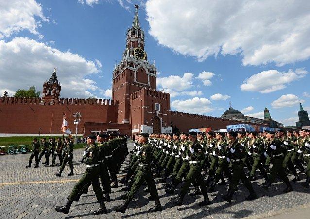 在莫斯科紅場進行了勝利閱兵式前的最後彩排