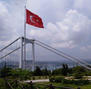 Турецкий флаг на фоне Стамбула