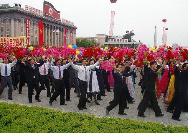 平壤舉行了大規模的群眾遊行活動