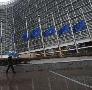 Флаги перед зданием Европейского парламента в Брюсселе