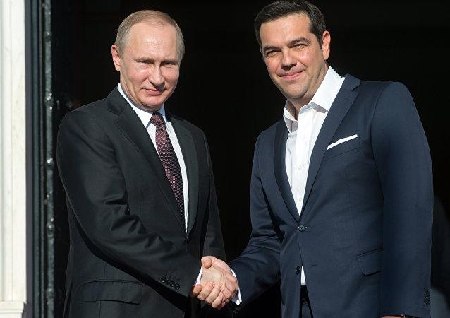 俄罗斯总统普京与希腊总理齐普拉斯