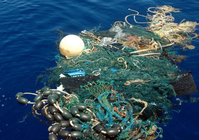 在太平洋中的大量垃圾