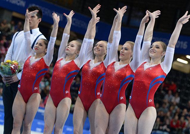 俄女子體操隊在歐錦賽上非官方團體總分第一