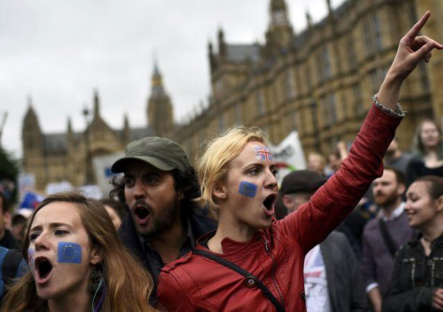 伦敦约有十万人抗议英国脱欧