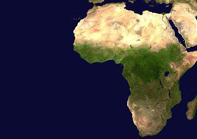 非洲大陆的卫星影像图