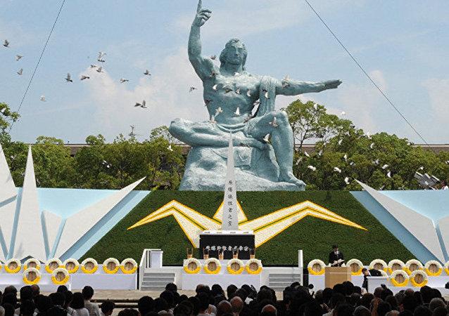 日本长崎为原子弹爆炸遇难者默哀一分钟
