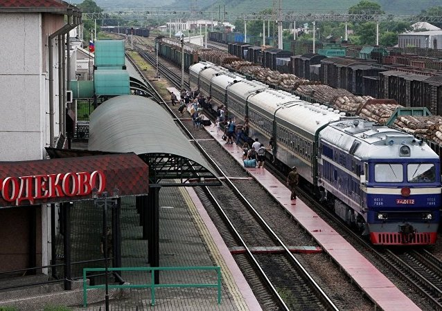 """首趟过境集装箱列车沿""""滨海-2""""交通运输走廊开出"""