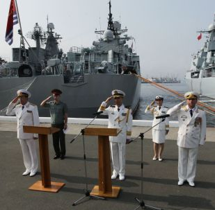 """俄中""""海上合作""""军事演习进入积极阶段 (2015年)"""