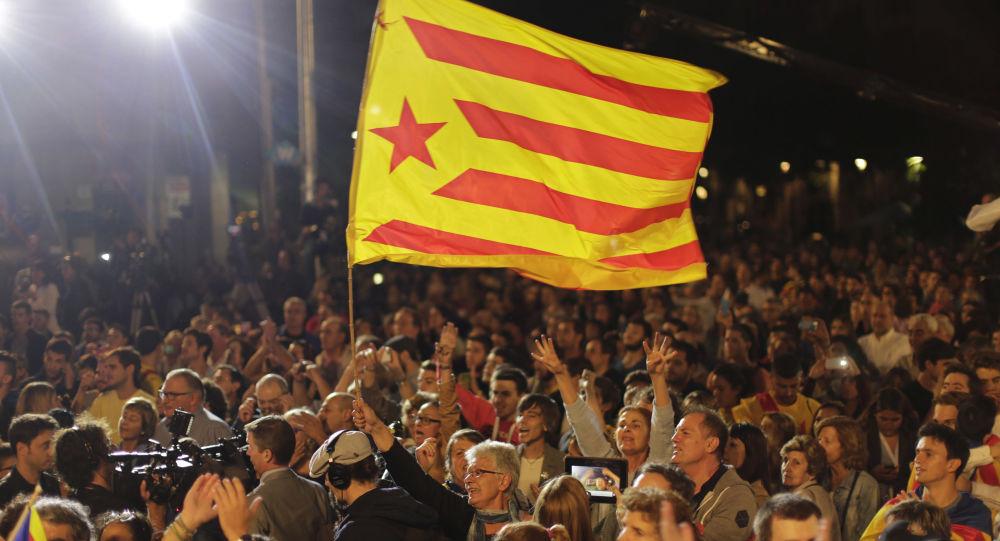 巴塞羅那支持加泰羅尼亞獨立的人士