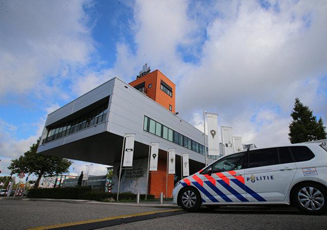 在荷兰的会议中心,在那里曾被递交在乌克兰坠毁的波音客机的相关报告