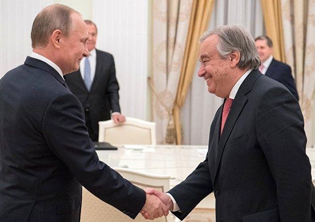 联合国秘书长在出席世界杯足球赛期间将同普京举行双方会晤