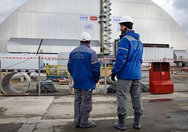 切爾諾貝利核電站4號機組外的新掩體安裝完畢