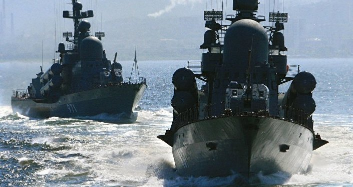 俄太平洋艦隊支隊駛出孟加拉灣參加「因陀羅海軍-2016」演習海上階段