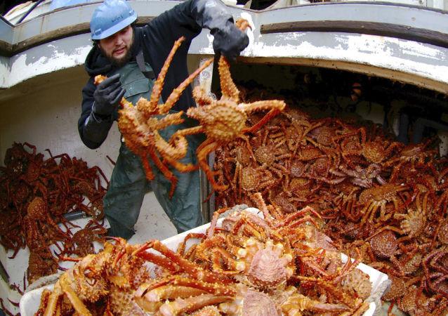 俄渔业企业青岛展会上展示野生活比目鱼和海蟹