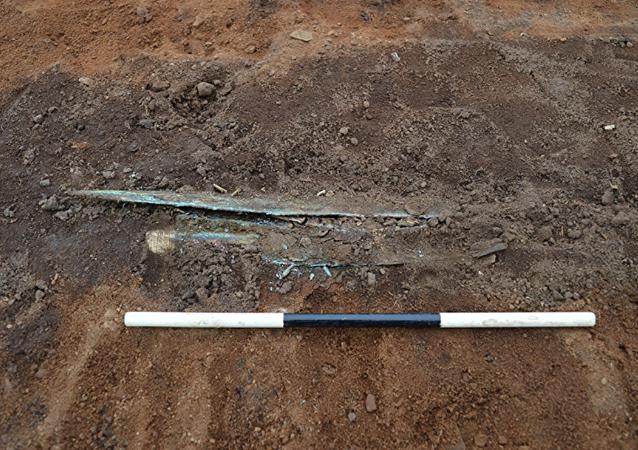 考古学家在足球场上挖到金标枪