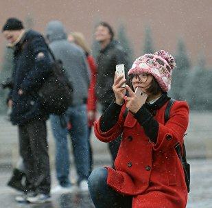 中国女孩儿在红场