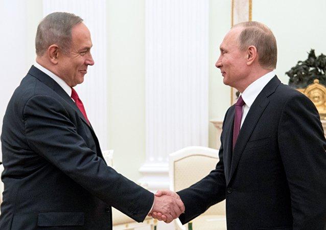 以色列總理內塔尼亞胡(左)和俄羅斯總統普京