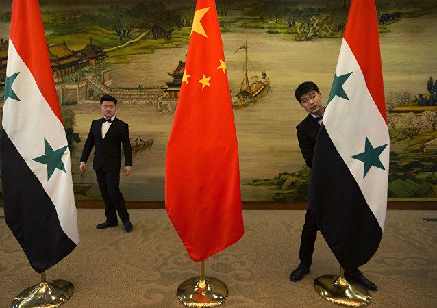 中国、叙利亚国旗