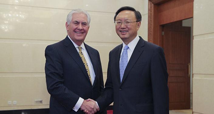 中国国务委员杨洁篪与美国国务卿蒂勒森