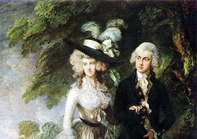 英國著名畫家托馬斯·蓋恩斯伯勒的繪畫作品《威廉·哈雷特夫婦》