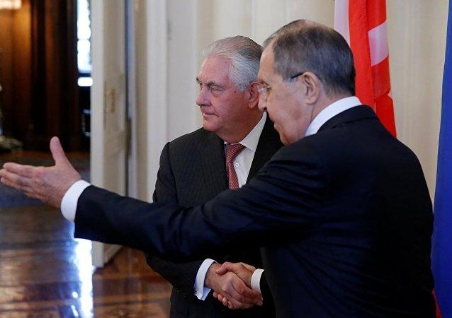 俄外长拉夫罗夫和美国务卿蒂勒森