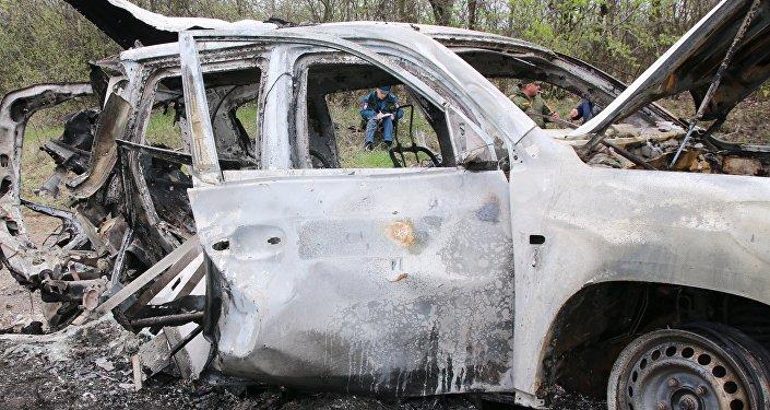 頓涅茨克人民共和國情報部門:烏克蘭軍車在頓巴斯南部被炸地雷