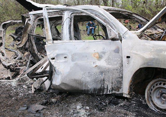 顿涅茨克人民共和国情报部门:乌克兰军车在顿巴斯南部被炸地雷