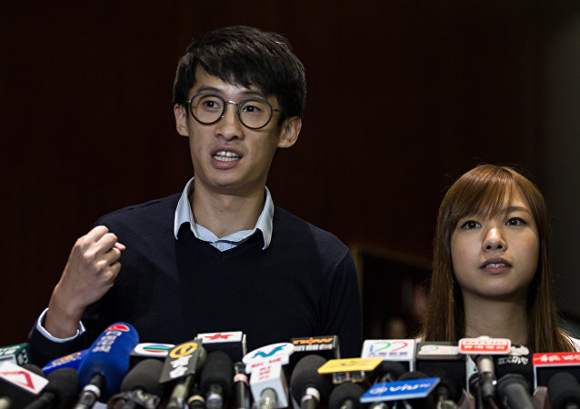 Youngspiration leaders Baggio Leung (L) and Yau Wai-Ching