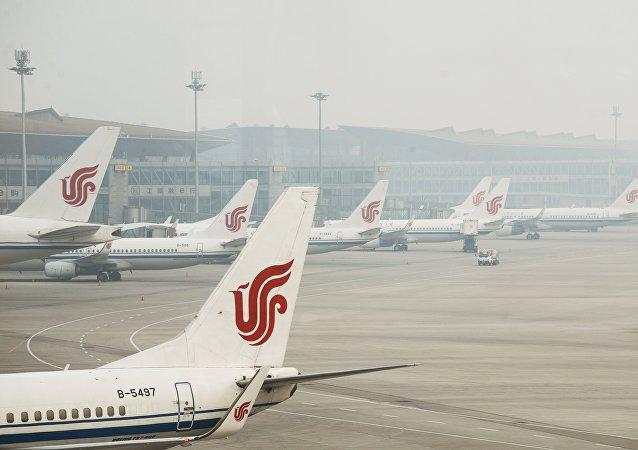 中國國航飛機在北京首都機場