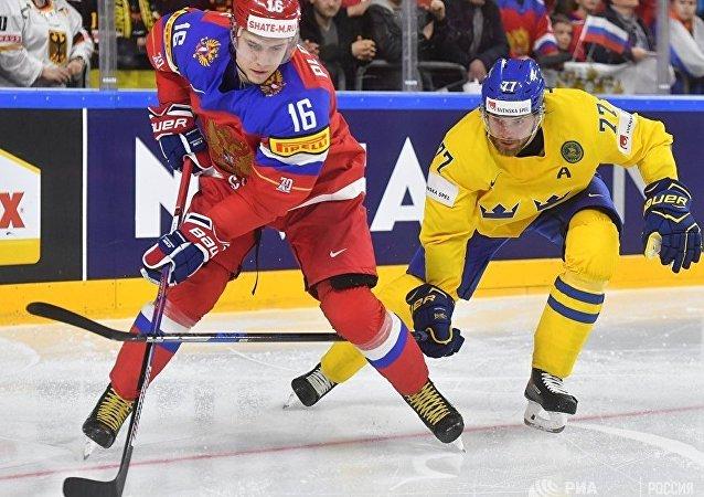 冰球世界杯初赛俄罗斯队击败瑞典队