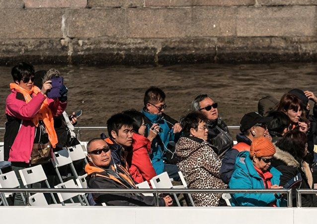 中国游客在圣彼得堡