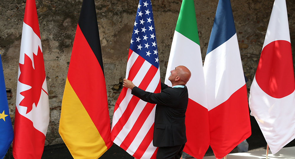 Flags are placed at the G7 summit in Taormina, Italy